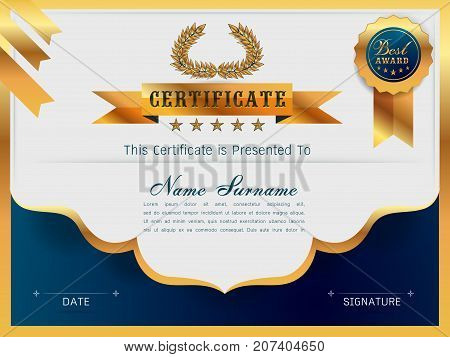Graceful certificate template with Luxury and modern pattern Qualification certificate blank template with elegantGold with blueVector illustration