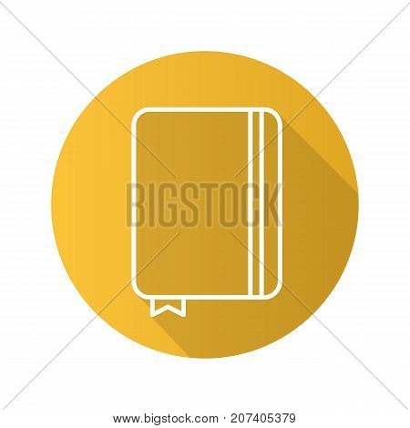 Diary notebook flat linear long shadow icon. Notepad with bookmark. Journal. Vector outline symbol