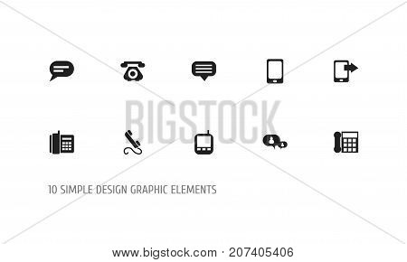 Set Of 10 Editable Phone Icons. Includes Symbols Such As Transceiver, Calling Device, Phone And More