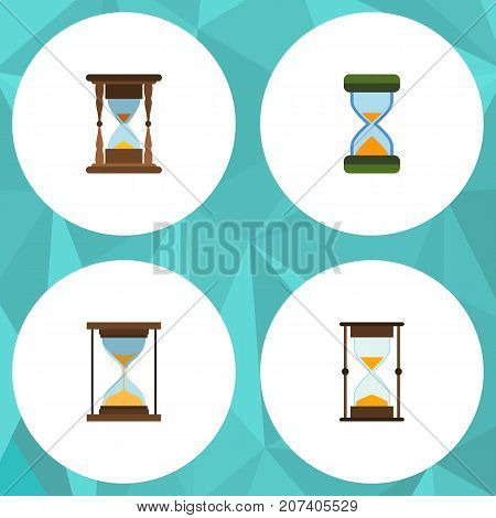 Flat Icon Sandglass Set Of Instrument, Measurement, Minute Measuring And Other Vector Objects