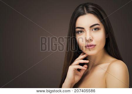Brunette Portrait Hairdresser Salon.  Seductive Woman, Fresh Healthy Skin, Skincare And Cosmetology