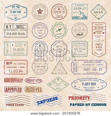 Vector set vintage postage stamps from countries all over world stamp different mail grunge postmark illustration. Old postcard retro border arrival frame.