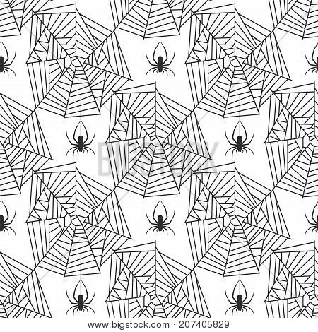 Spider web silhouette arachnid fear graphic flat scary animal poisonous design nature phobia insect danger horror tarantula halloween vector seamless pattern. Creepy warning symbol poison silhouette.