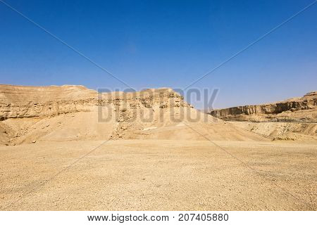 Mountains of the Negev desert on a background of blue sky (Israel)