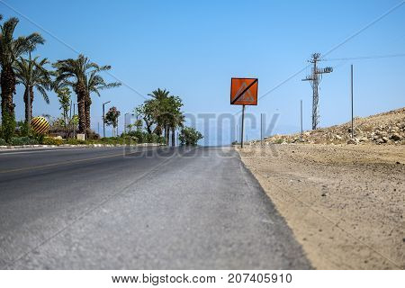 Part of Highway 90 running along the shore of the Dead Sea (Israel)