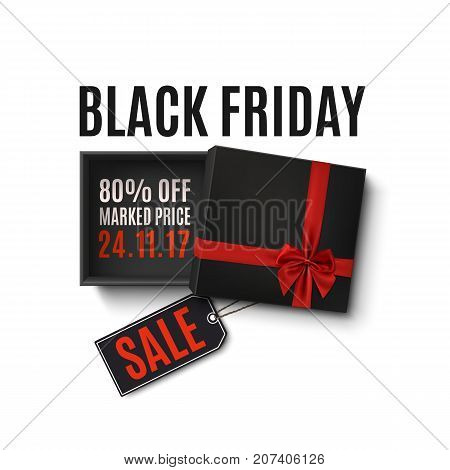 Black Friday sale design. Opened black gift box with red ribbon, bow and price tag isolated on white background. Top view. Template for, banner, brochure or poster.