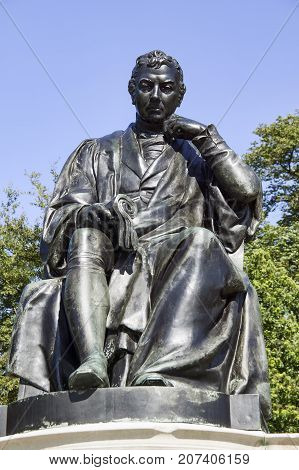 London, UK, August 18, 2009 :  Bronze memorial statue unveiled in 1858 now in Kensington Gardens of Edward Jenner the pioneer of the first vaccine who found a cure for smallpox