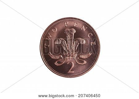 New two pence coin of England UK  cut out and isolated on a white background