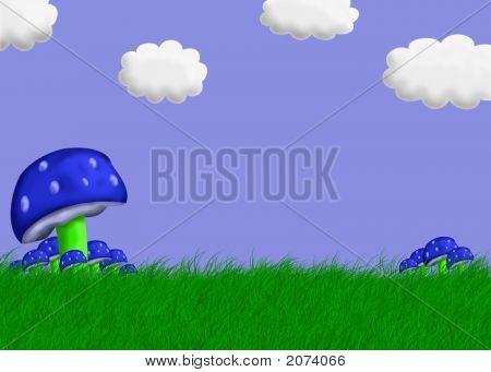 Mushroom Landscape Illustration