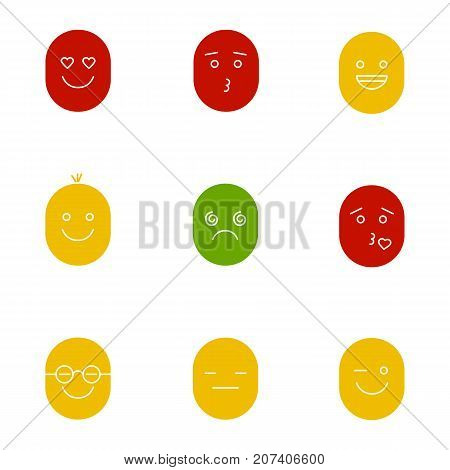 Smiles glyph color icon set. Silhouette symbols on white backgrounds. Good and bad mood. In love, kissing, laughing, dizzy, clever, serious, winking faces. Negative space. Vector illustrations