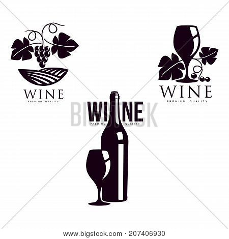 wine corkscrew, glass of wine with bottle decorated with grapevine with leaves, ripe grapes and twig set. Elegant Company logo, brand icon design. Isolated illustration on a white background.