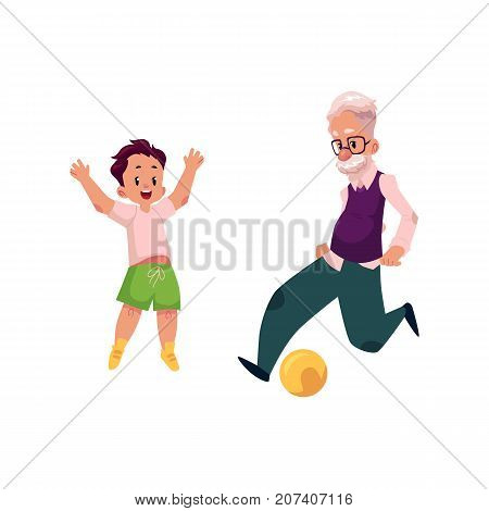 Grandfather, old man playing football with his grandson, teenage boy, cartoon vector illustration isolated on white background. Granddad grandparent and grandson playing football, happy family concept