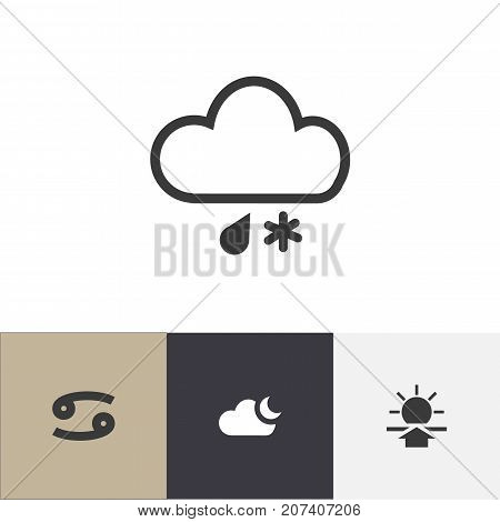 Set Of 4 Editable Climate Icons. Includes Symbols Such As Crab, Sunup, Moonlight And More