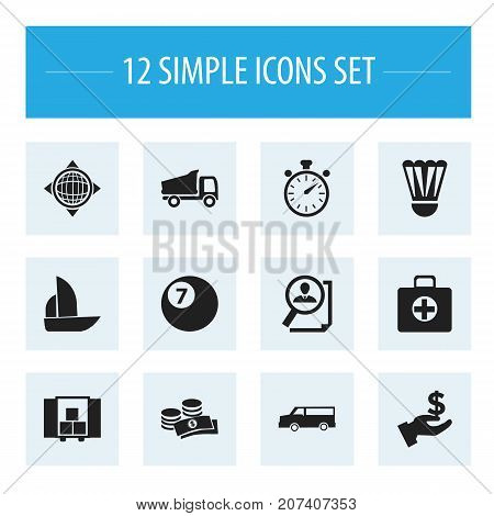 Set Of 12 Editable Complex Icons. Includes Symbols Such As First Aid Box, Delivery, Coins And More