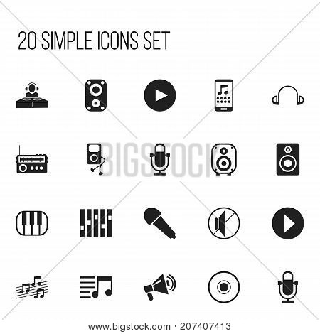 Set Of 20 Editable Multimedia Icons. Includes Symbols Such As Musical Sign, Recorder, Earpiece And More