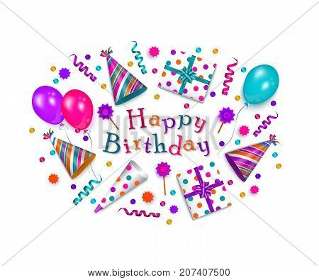 Happy Birthday greeting card, banner, poster design with realistic cake, present box, party hat, horn, balloon and lettering, vector illustration isolated on white background. Birthday greeting card