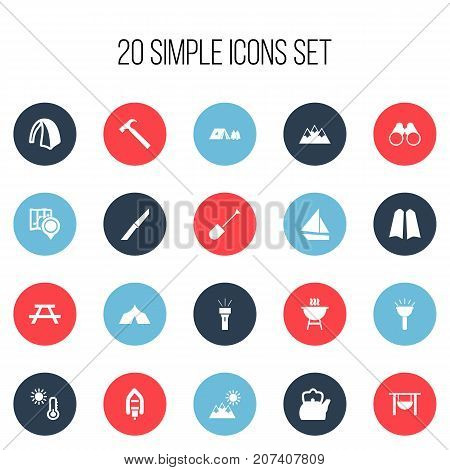 Set Of 20 Editable Camping Icons. Includes Symbols Such As Diver Shoes, Pan On Bonfire, Handle Hit