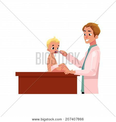 Young man doctor, pediatrician, otolaryngologist checking baby, infant throat, cartoon vector illustration isolated on white background. Male doctor pediatrician, otolaryngologist checking baby throat
