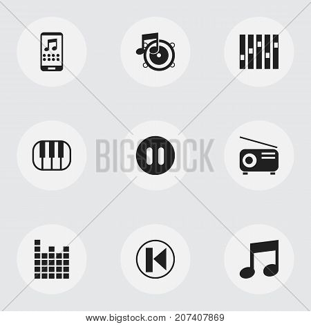 Set Of 9 Editable Song Icons. Includes Symbols Such As Loudspeaker, Sound Controlling, Pause And More