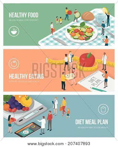 Nutrition diet and healthy lifestyle banners set: people preparing food and planning an healthy diet