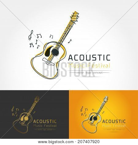 Modern linear thin flat design. The stylized image of Acoustic guitar. folk music festival logo Template for covers logo posters invitationsModern art thin line of the classical guitar icon music instrument logo flat design
