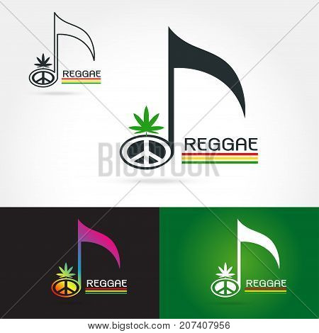 Template logo for a musical reggae band with cannabis leaf peace symbol. reggae music vector grunge logoon white background Vector illustration