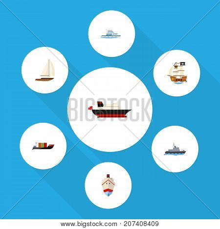 Flat Icon Vessel Set Of Yacht, Vessel, Tanker And Other Vector Objects
