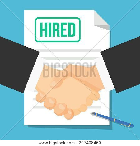 Hired flat icon. Two shaking hands. Job application, recruiting, head hunting, HR shake hand. Vector illustration isolated on a background. Agreement. Premium quality.