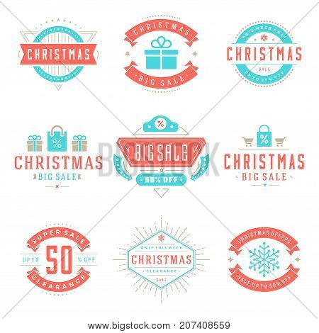 Christmas sale badges, badges and tags design vector vintage set for banners, promotional brochures, holidays discount Posters, shopping advertising flyers.