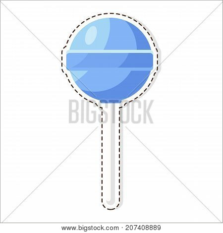 Lollipops candy patch vector isolated on white. Sweet sugar dessert on stick, lolly bonbons icon. Colorful caramels in flat style design