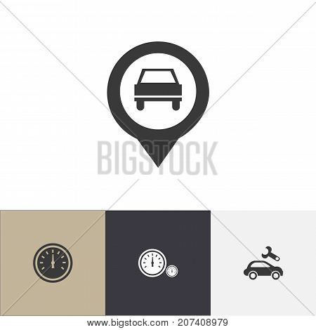 Set Of 4 Editable Vehicle Icons. Includes Symbols Such As Speedometer, Odometer, Automotive Fix And More