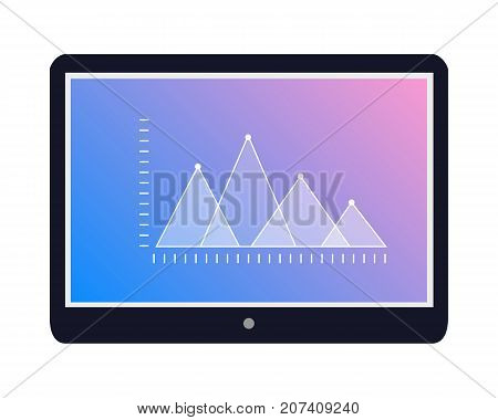 Stock exchange fluctuations peaks on tablet screen. Tablet with statistics graph flat vector illustration isolated on white background. Mobile device for online trading and business presentation