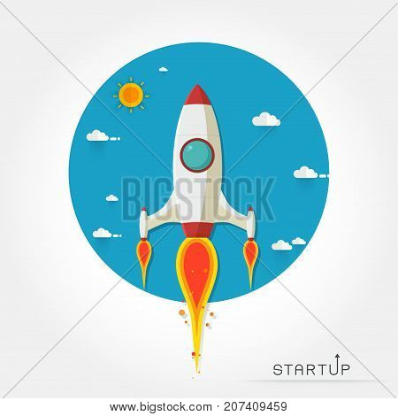 Rocket ship in a flat style.Vector illustration with flying rocket.Space travel to the moon.Space rocket launch.Project start up and development process.Innovation productcreative idea.Management.
