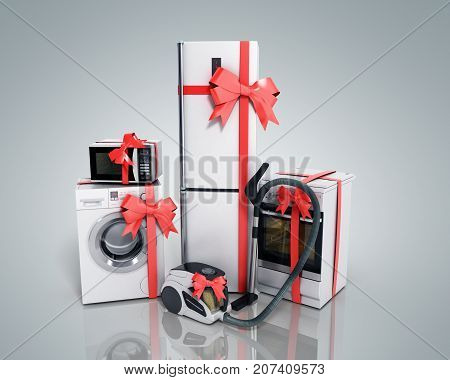 Home Appliances As A Gift Group Of White Refrigerator Washing Machine Stove Microwave Oven Vacuum Cl