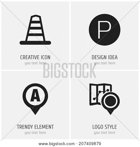 Set Of 4 Editable Location Icons. Includes Symbols Such As Gps, Road Sign, Marker And More