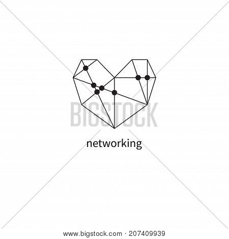 Heart with wires. Logo networking. Social network icon. Friendships. - stock vector
