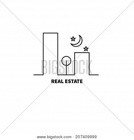 Logo real estate agency. Urban landscape - city buildings sky and tree. - stock vector
