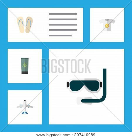 Flat Icon Season Set Of Clothes, Aircraft, Moisturizer And Other Vector Objects