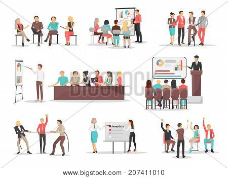 Co-workers do job in teams and use visual presentations, modern devices, unusual approach and discuss in groups vector illustrations set.