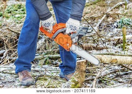 Lumberjack using chainsaw in forest in autumn day