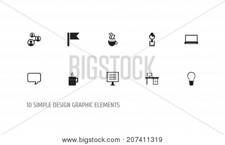 Set Of 10 Editable Bureau Icons. Includes Symbols Such As Businesswoman, Monitor, Staff And More