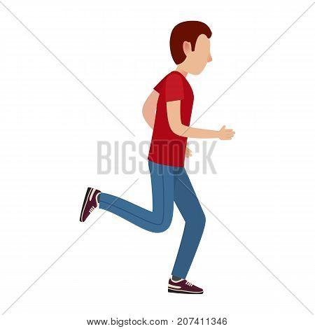 Adult cartoon male character in red T-shirt, sports trousers and sneakers runs away isolated vector illustration on white background.