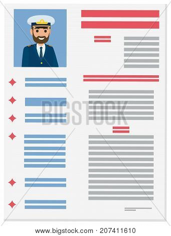 Brief resume with detailed information about marine captain vector illustration. Job application form of sea crew member