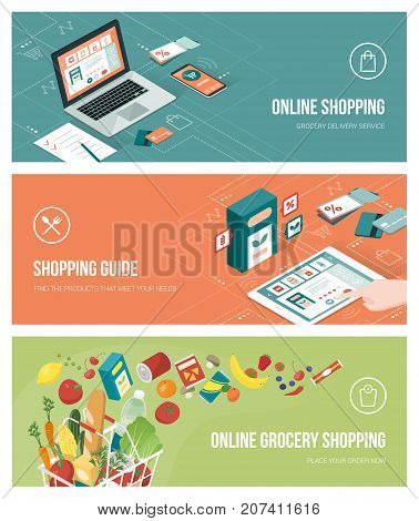 Grocery shopping online using apps on a laptop smartphone and tablet; healthy eating retail and technology concept