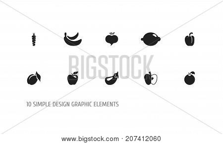 Set Of 10 Editable Fruits Icons. Includes Symbols Such As Apricot, Citrus, Carrot And More