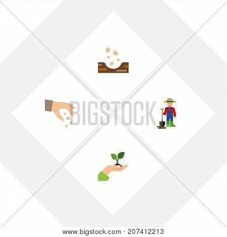Flat Icon Seed Set Of Man, Sow, Seed And Other Vector Objects