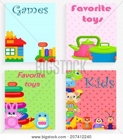 Kids favorite toys and games colorful poster of four cards with kitchenware and house with transport playthings and other amusing elements