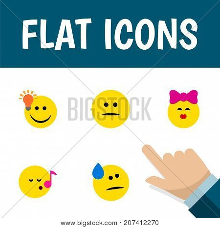 Flat Icon Gesture Set Of Tears, Caress, Descant And Other Vector Objects