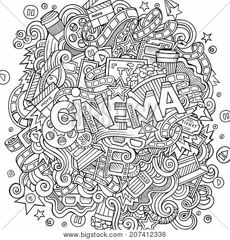 Cartoon cute doodles hand drawn Cinema inscription. Illustration with movie theme items. Line art detailed, with lots of objects background. Funny vector artwork