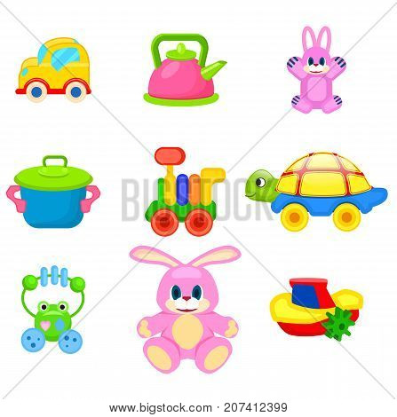 Yellow car, pink kettle, cute rabbit, toy saucepan, colorful train, turtle on wheels, frog beanbag, fluffy bunny and small boat vector illustrations.